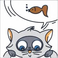 Декор Котик и Рыбка