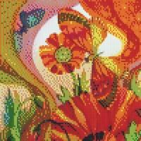 Мозаичное панно Бабочки и цветы Б-01. Серия БАБОЧКИ.