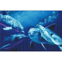 Мозаичное панно Дельфины стая М-07. Серия МОРЕ.