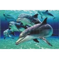 Мозаичное панно Дельфины стая М-06. Серия МОРЕ.