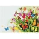 Мозаичное панно Тюльпаны и бабочки Б-03. Серия БАБОЧКИ.