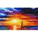Мозаичное панно Яхта, море, закат М-01. Серия МОРЕ.